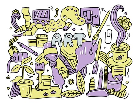 Yellow and violet doodle detailed Art background with set of different painting,drawing and crafts equipment. 向量圖像