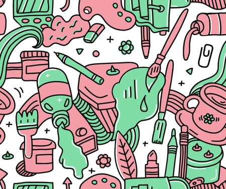 Red and green doodle detailed seamless art pattern with different painting,drawing and crafts equipment