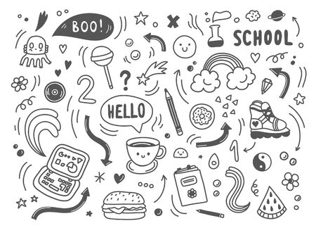 Set of hand drawn doodle elements, arrows, stars, symbols, office or school objects and stationery.Funny black and white doodle background.