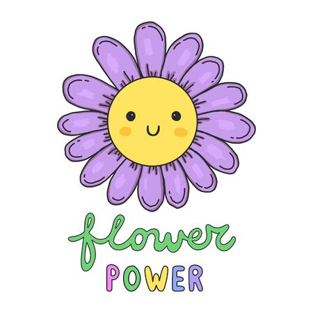 Colorful hand drawn doodle smiling flower with Flower Power lettering.