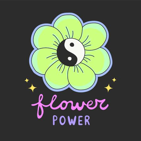 Colorful Flower Power lettering with 60s hippie style ying-yang daisy flower 向量圖像