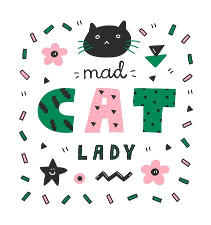 Colorful Mad cat lady lettering,pink and green colors,word art.