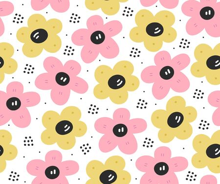 Seamless pink and yellow scandinavian flower pattern.Naive hygge style.