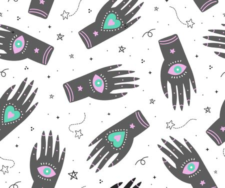 Cute seamless boho pattern with ornate ethnic hands,eyes and magic symbols n the night sky.