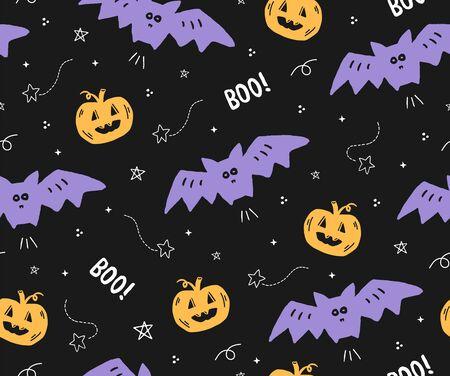 Cute seamless Halloween pattern with bats and pumpkins