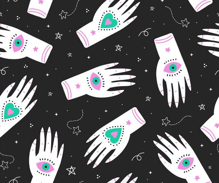 seamless boho pattern with ornate fortune teller hands,eyes and sacred symbols n the night sky.Print for textile,clothing,mobile wallpaper or wrapping paper.Black background.vector