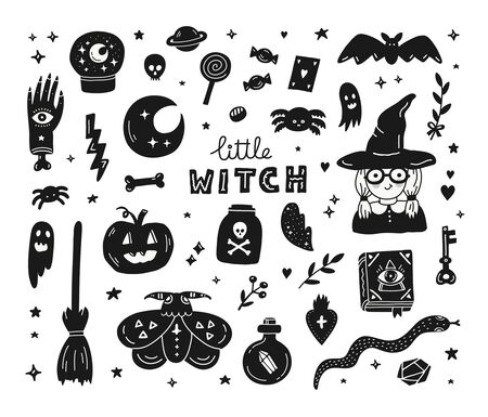 Witchcraft magic set of hand drawn doodle icons. 向量圖像