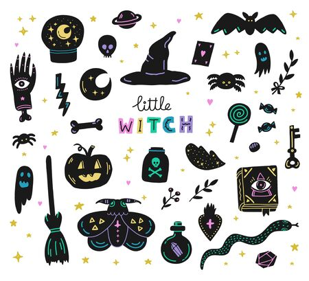 Witchcraft magic set of hand drawn Halloween doodle icons.