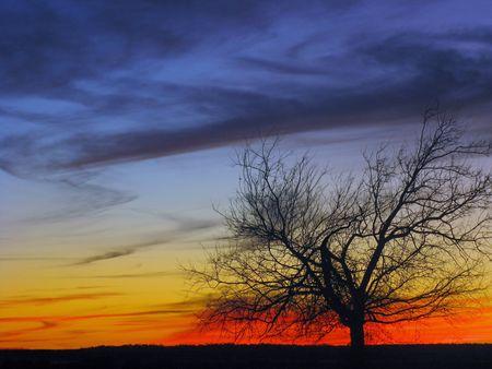 Oklahoma Sunset in Winter 20092010                             Stock Photo