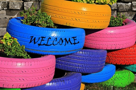 Welcome Message on Bright Colorful Tires Stok Fotoğraf
