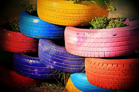 Colorful Stacked Tires