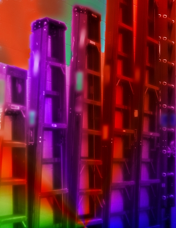 Colorful Metal Ladders Hanging on Wall