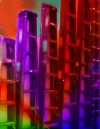 rungs: Las escaleras de colores de metal que colgaba en la pared