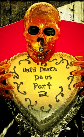 Until Death Do us Part Halloween Cake Stock Photo