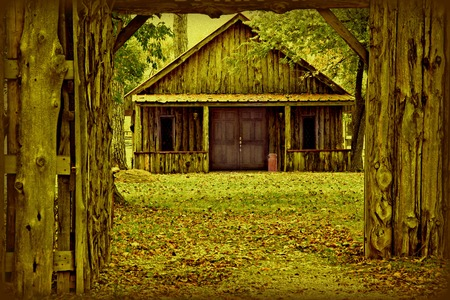 Abandoned Wooden HouseCabin in Sepia
