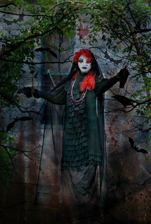Horror Goth Halloween Female in Chains Stock Photo