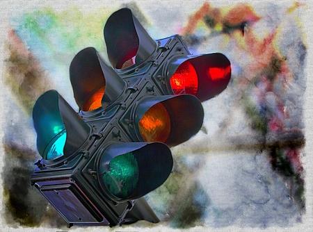 Intersection Stoplight; Traffic Light;  Stock Photo