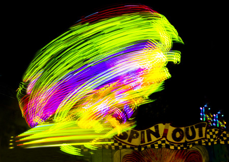 Spin Out Carnival Ride After Dark Stock Photo
