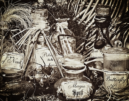 Sepia Potions and Pills Image Halloween and Witches