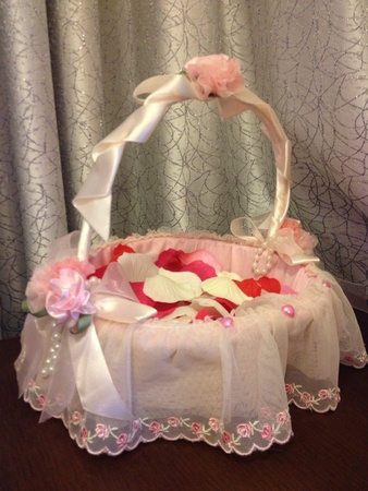 basket embroidery: Pink lace embroidery basket with rose petals
