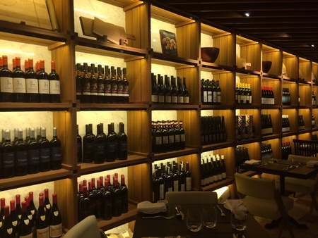 Wine bottles as interior wall