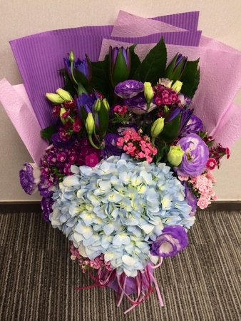 bellflower: Flower bouquet with embroidery flower, lotus, peony, carnation, dianthus, bellflower