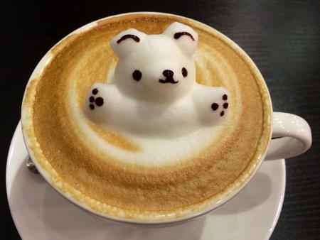 art: Three dimensional coffee art of white bear