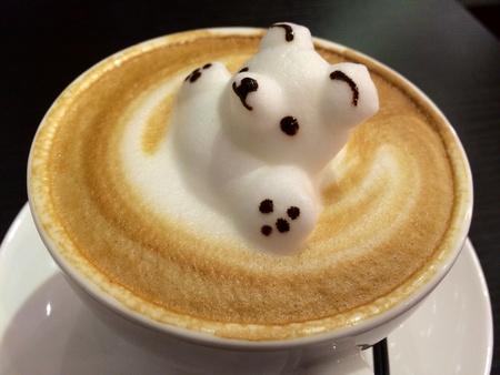 artwork: Three dimensional coffee art of white bear