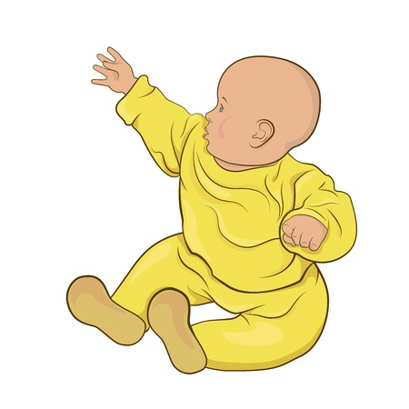 The baby boy or baby girl in yellow pajamas sitting