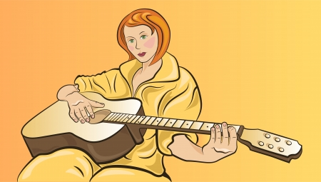 Red-haired girl sitting on a yellow plays acoustic guitar Stock Vector - 23102186