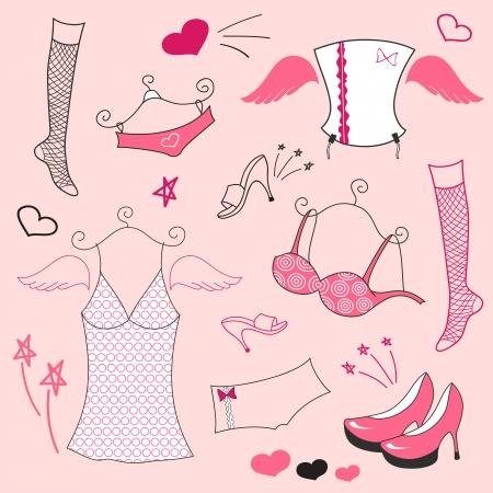 moda ropa: Conjunto de vectores, ropa de moda mujer, estilo angel