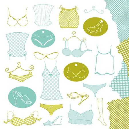 unterwäsche frau: Set von Kleidung Unterw�sche Frau, Vektor-Illustration