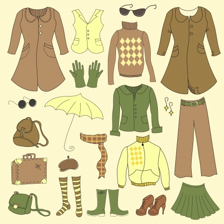 Vector set, retro woman clothes, hipster collection