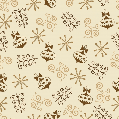 Christmas vector seamless pattern with snowflake, toys Vector