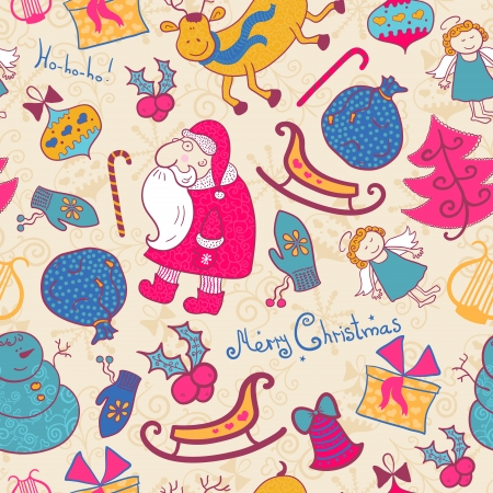 Christmas vector seamless pattern with doodle elements Vector