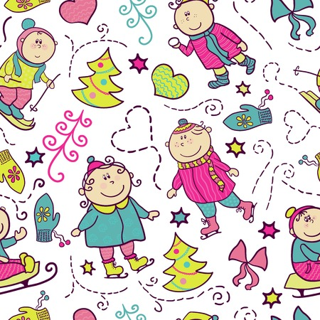 Christmas seamless pattern with doodle funny children, winter recreation Vector