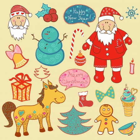Christmas ellements collection, vector new year set Vector