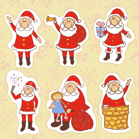Doodle santa claus set, vector illustration collection Vector