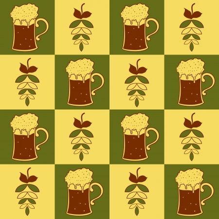 Beer mugs and hop seamless pattern, vector illustration Vector