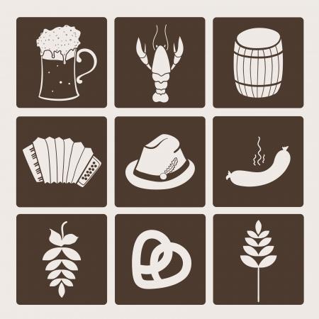 comida alemana: Oktoberfest colección de iconos gráficos, ilustración vectorial conjunto