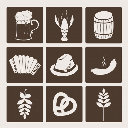 german food: Oktoberfest graphic icons collection, vector set illustration