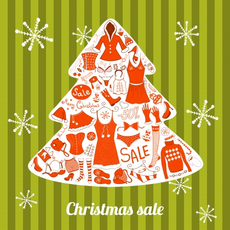 Christmas clothes woman set, vector illustration collection Vector