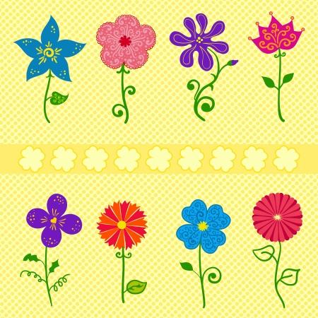 ellements: Colorful different flowers set, collection vector  ellements