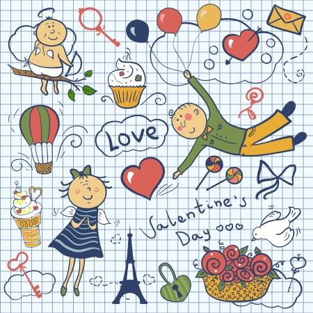 Valentines day vector set, romantic doodle illustration Vector
