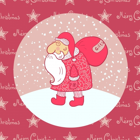 star man: Santa Claus carries his bag, falling snow, vector illustration Illustration