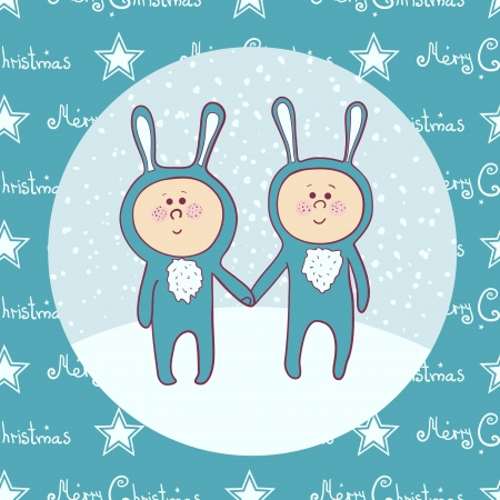 Cute babys  in rabbit costume, christmas masquerade Ilustrace