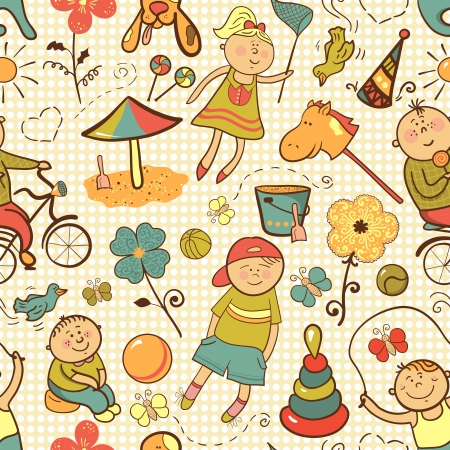 Children play with toys, vector seamless pattern