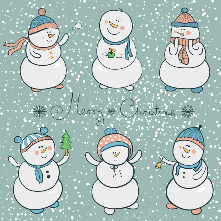 Collection snowmen in cartoon style, christmas illustration