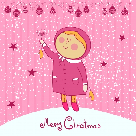 Little girl with  Bengal light, christmas vector ilustration Vector
