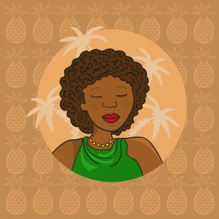 Beautiful  curl african girl in green blouse